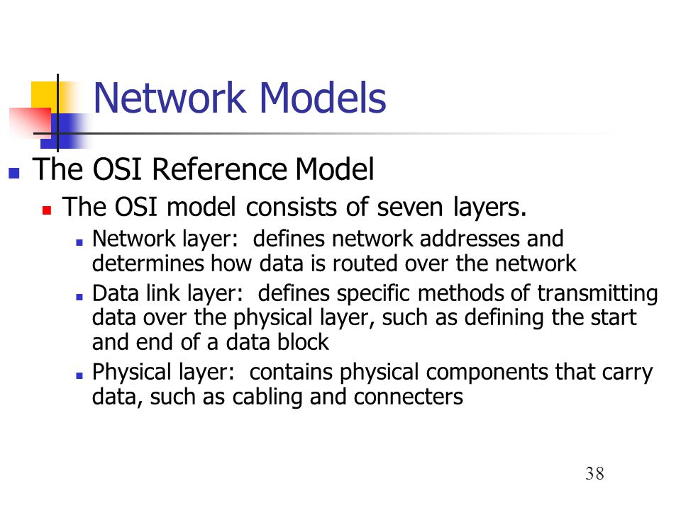 38 Network Models The OSI Reference Model The OSI model consists of seven layers.