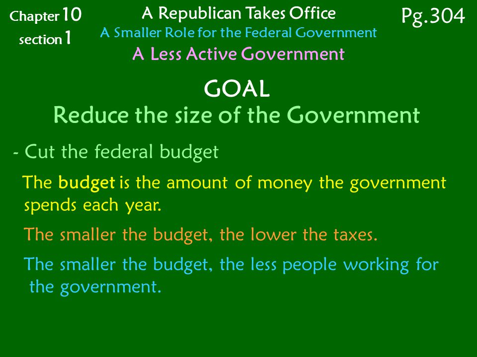 GOAL Reduce the size of the Government - Cut the federal budget The budget is the amount of money the government spends each year.