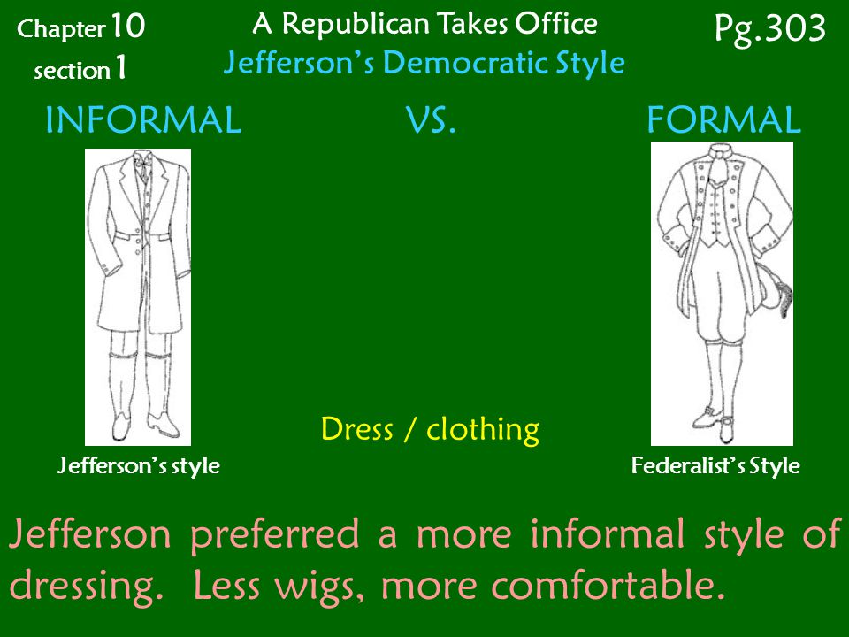 Dress / clothing INFORMAL VS.