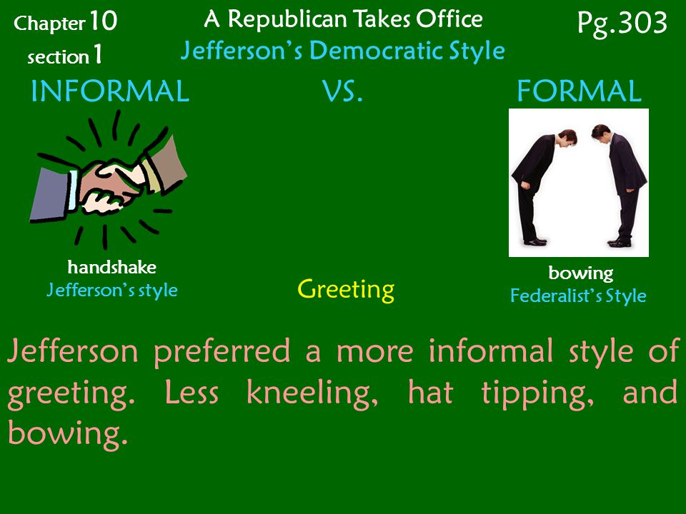 Greeting INFORMAL VS.