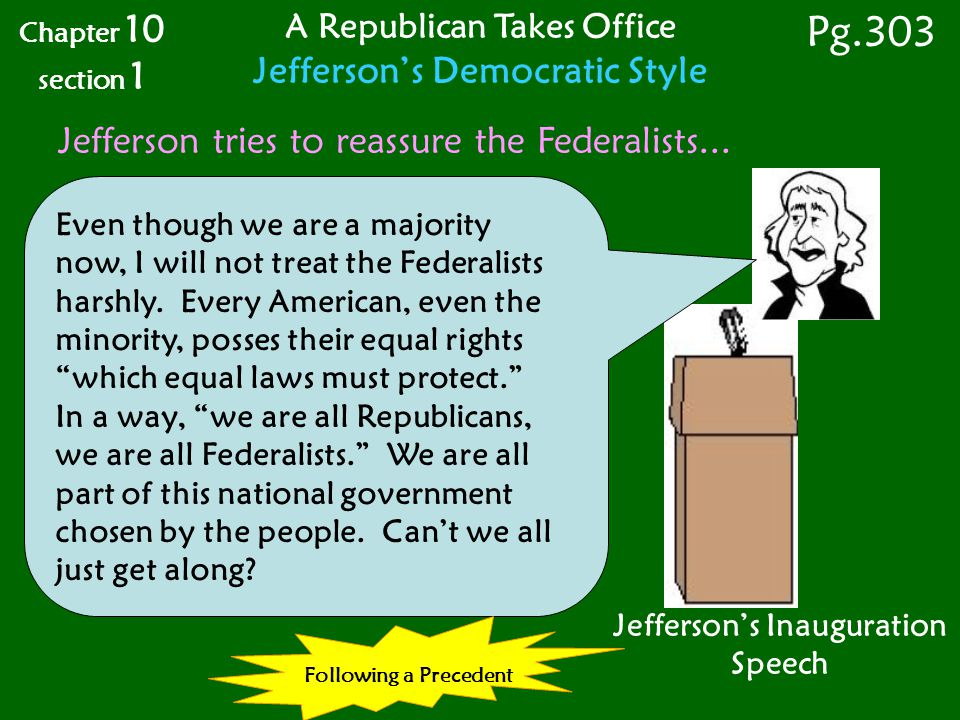 Jefferson's Inauguration Speech Even though we are a majority now, I will not treat the Federalists harshly.
