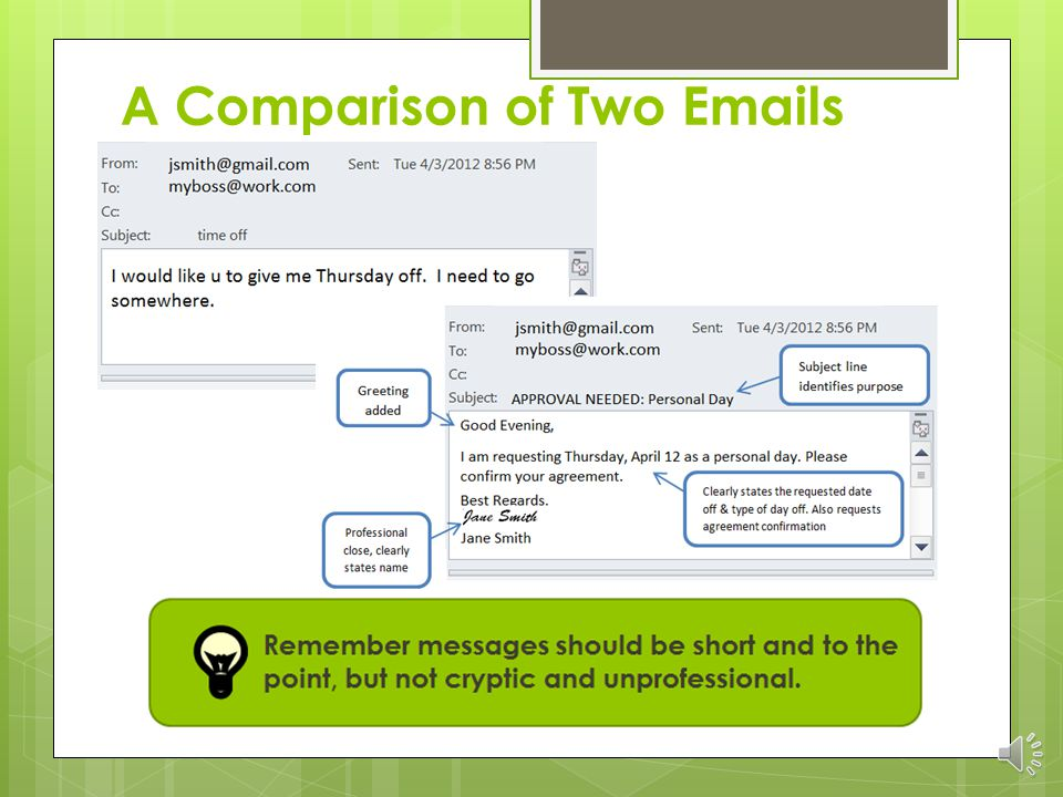  Use the email structure and layout to increase readability  Always read, check spelling and grammar before sending  Remember all electronic communication is in the public domain even in a secure system, so be careful what you put in writing