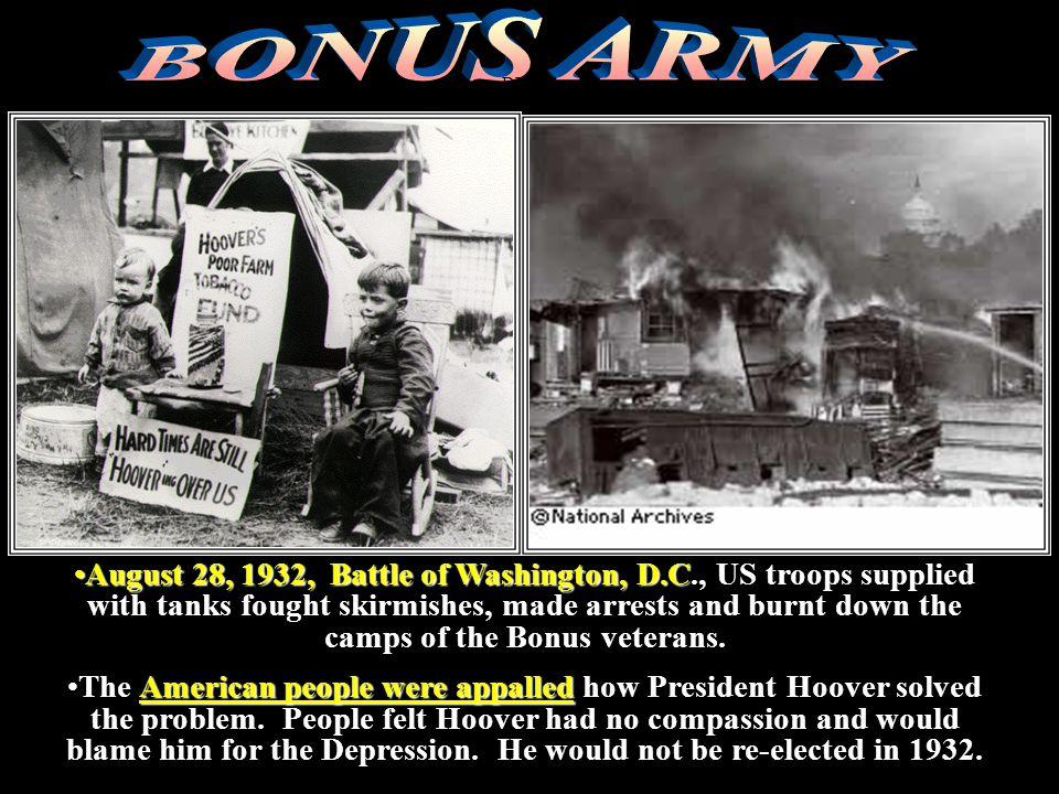 DEBTS August 28, 1932, Battle of Washington, D.CAugust 28, 1932, Battle of Washington, D.C., US troops supplied with tanks fought skirmishes, made arr