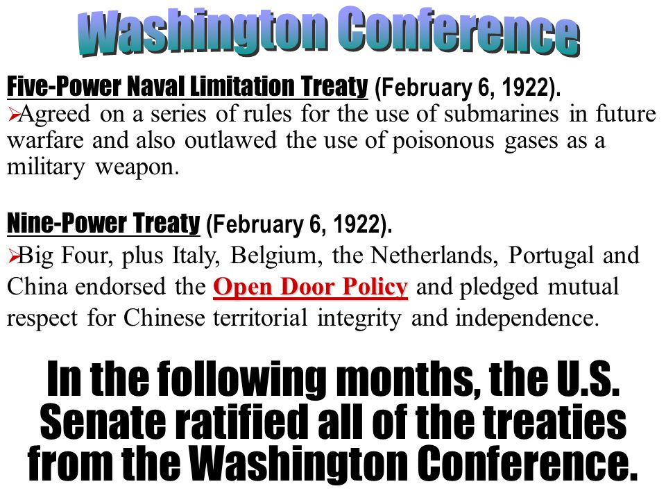Five-Power Naval Limitation Treaty (February 6, 1922).  Agreed on a series of rules for the use of submarines in future warfare and also outlawed the