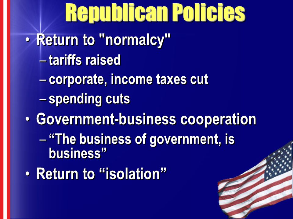 Republican Policies Return to