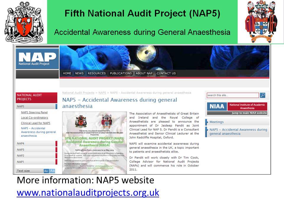 More information: NAP5 website www.nationalauditprojects.org.uk
