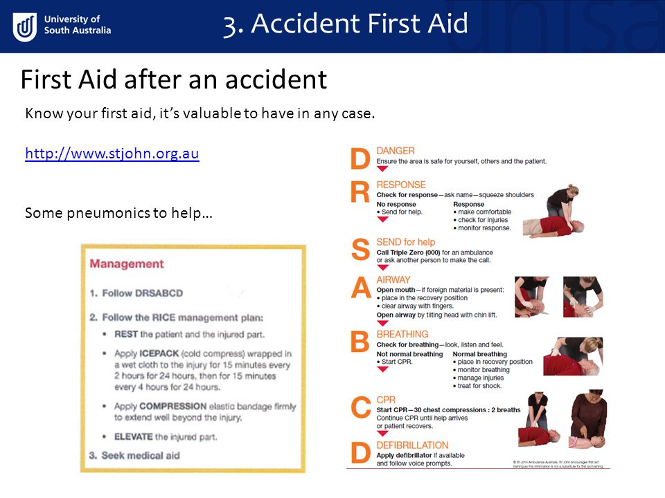 First Aid after an accident 3.