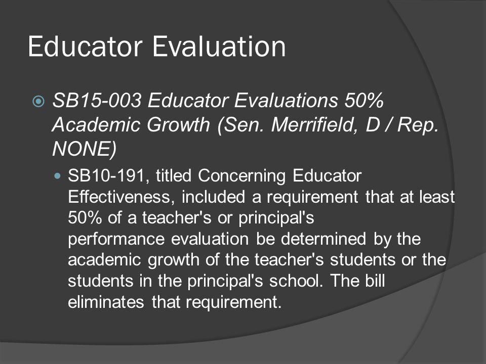 Educator Evaluation  SB15-003 Educator Evaluations 50% Academic Growth (Sen.