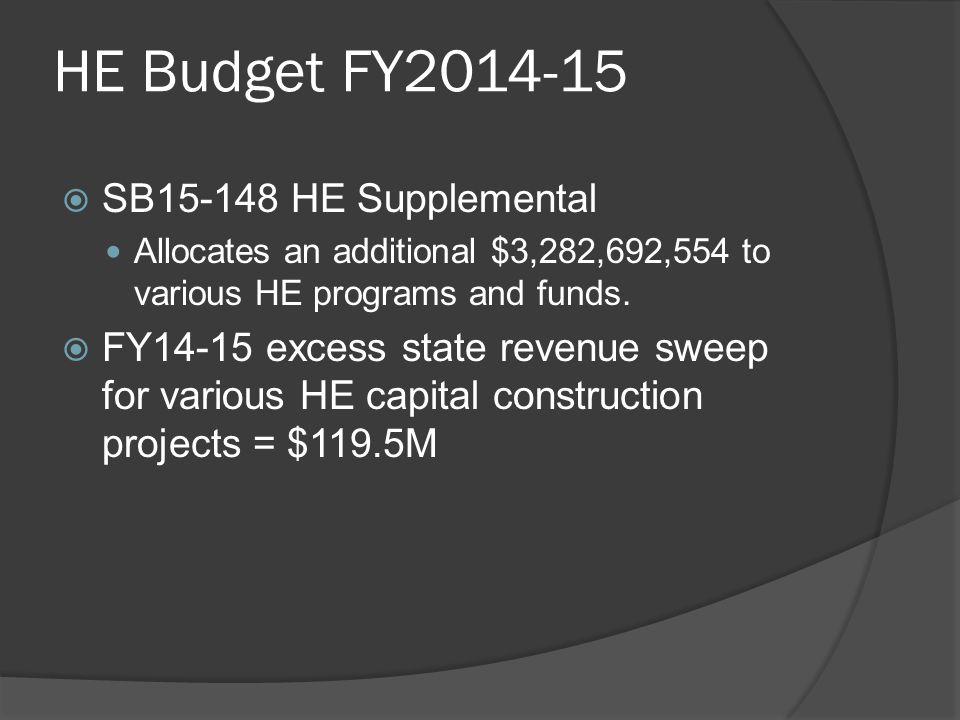HE Budget FY2014-15  SB15-148 HE Supplemental Allocates an additional $3,282,692,554 to various HE programs and funds.