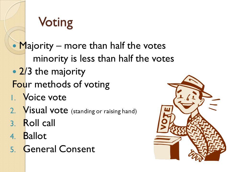 Voting Majority – more than half the votes minority is less than half the votes 2/3 the majority Four methods of voting 1. Voice vote 2. Visual vote (
