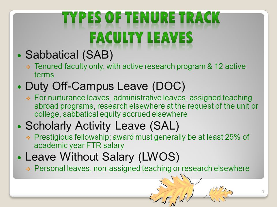 Sabbatical (SAB)  Tenured faculty only, with active research program & 12 active terms Duty Off-Campus Leave (DOC)  For nurturance leaves, administrative leaves, assigned teaching abroad programs, research elsewhere at the request of the unit or college, sabbatical equity accrued elsewhere Scholarly Activity Leave (SAL)  Prestigious fellowship; award must generally be at least 25% of academic year FTR salary Leave Without Salary (LWOS)  Personal leaves, non-assigned teaching or research elsewhere 3