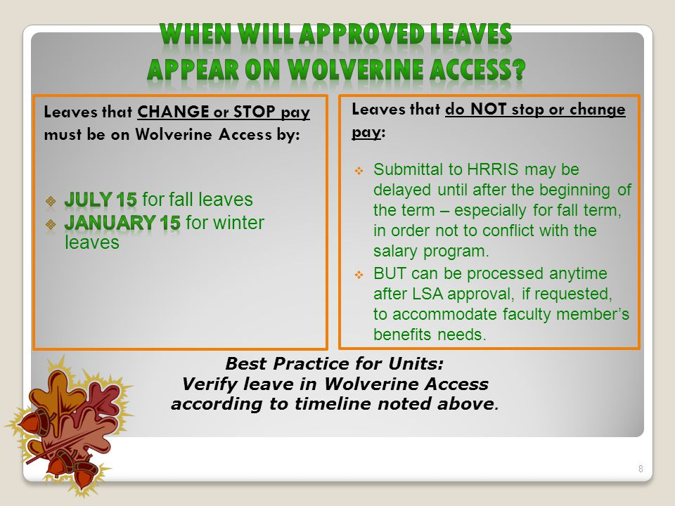 Leaves that CHANGE or STOP pay must be on Wolverine Access by: Leaves that do NOT stop or change pay:  Submittal to HRRIS may be delayed until after the beginning of the term – especially for fall term, in order not to conflict with the salary program.