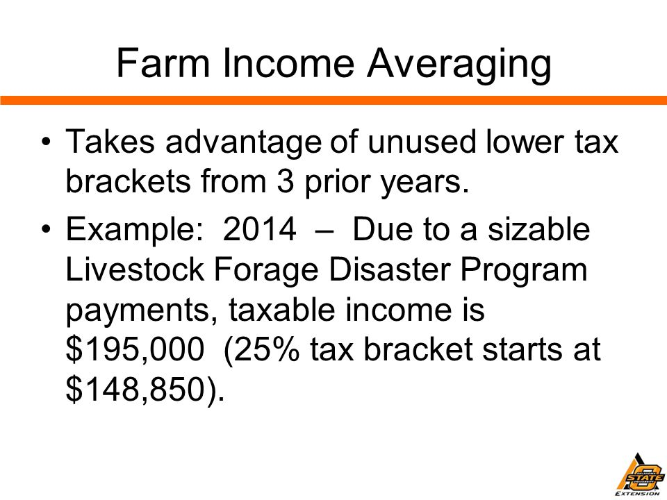 Farm Income Averaging Takes advantage of unused lower tax brackets from 3 prior years.