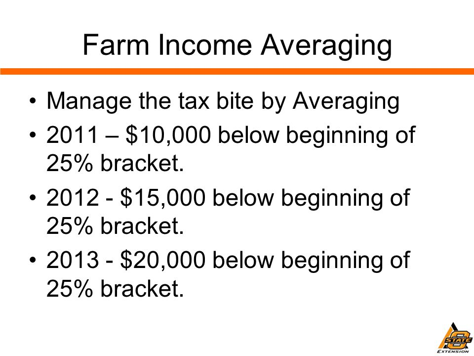 Farm Income Averaging Manage the tax bite by Averaging 2011 – $10,000 below beginning of 25% bracket.