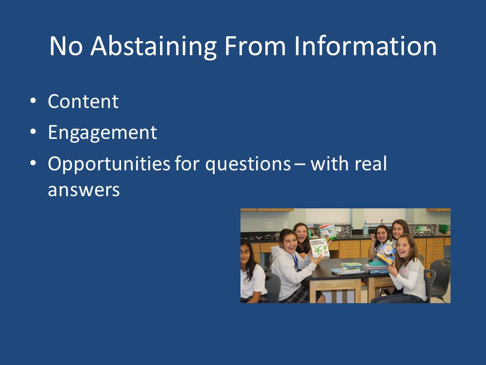 No Abstaining From Information Content Engagement Opportunities for questions – with real answers