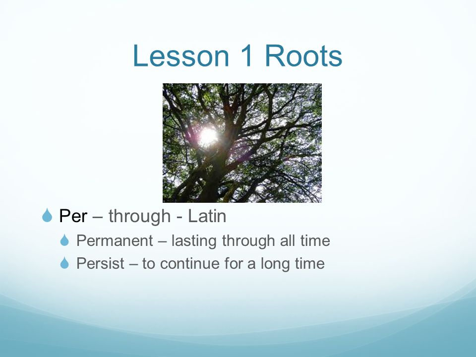 Lesson 1 Roots  Per – through - Latin  Permanent – lasting through all time  Persist – to continue for a long time