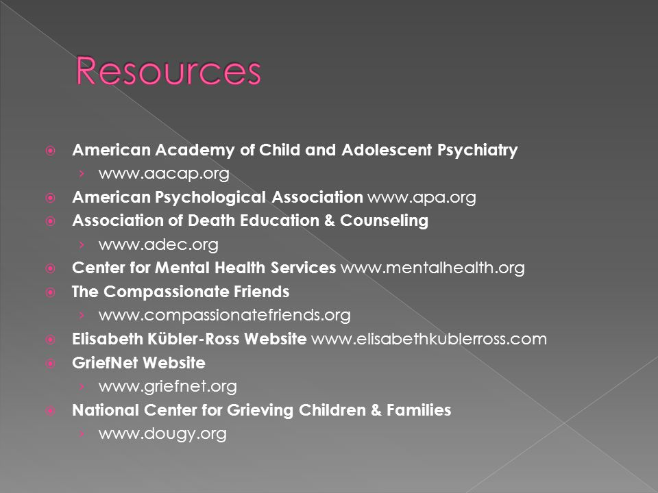  American Academy of Child and Adolescent Psychiatry › www.aacap.org  American Psychological Association www.apa.org  Association of Death Education & Counseling › www.adec.org  Center for Mental Health Services www.mentalhealth.org  The Compassionate Friends › www.compassionatefriends.org  Elisabeth Kübler-Ross Website www.elisabethkublerross.com  GriefNet Website › www.griefnet.org  National Center for Grieving Children & Families › www.dougy.org