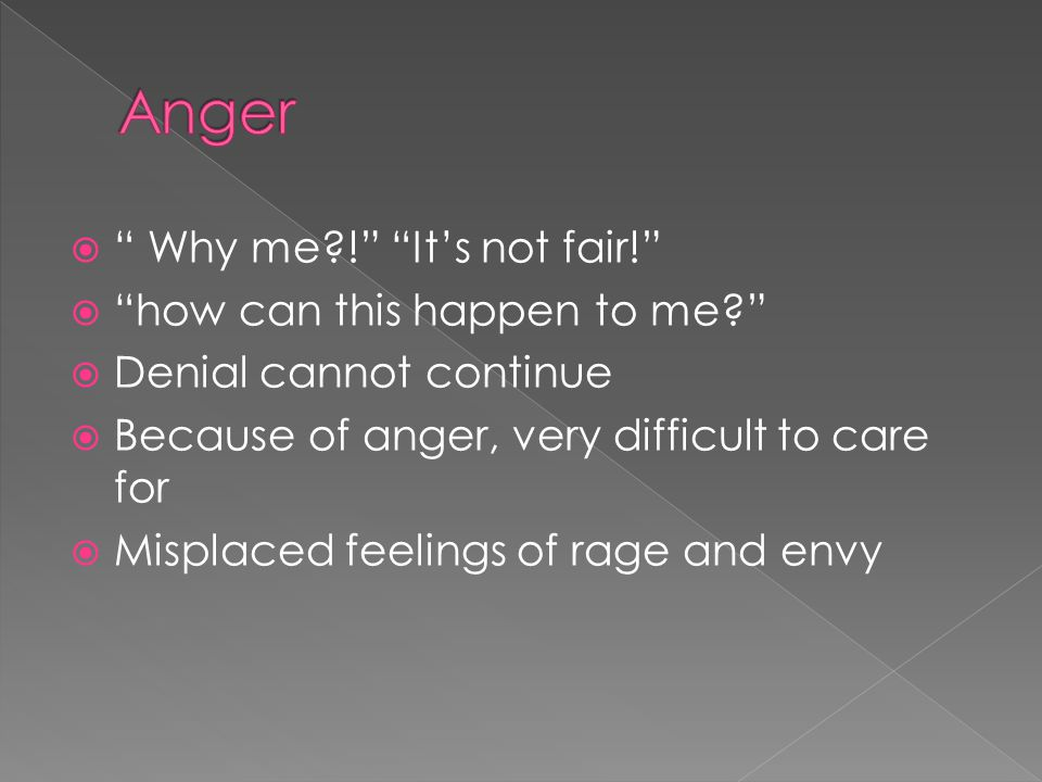  Why me ! It's not fair!  how can this happen to me  Denial cannot continue  Because of anger, very difficult to care for  Misplaced feelings of rage and envy