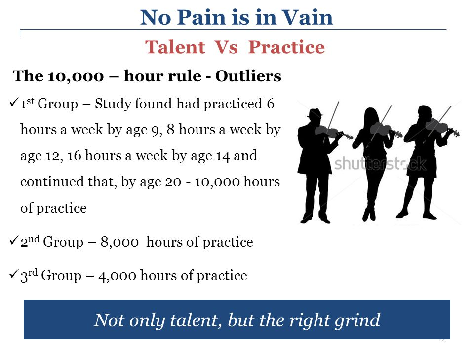 12 The 10,000 – hour rule - Outliers 1 st Group – Study found had practiced 6 hours a week by age 9, 8 hours a week by age 12, 16 hours a week by age