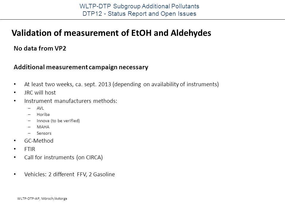 WLTP-DTP-AP, Mörsch/Astorga WLTP-DTP Subgroup Additional Pollutants DTP12 - Status Report and Open Issues No data from VP2 Additional measurement camp