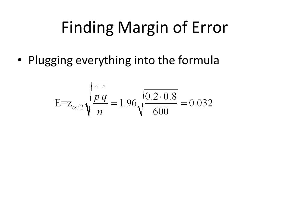Finding Margin of Error Plugging everything into the formula