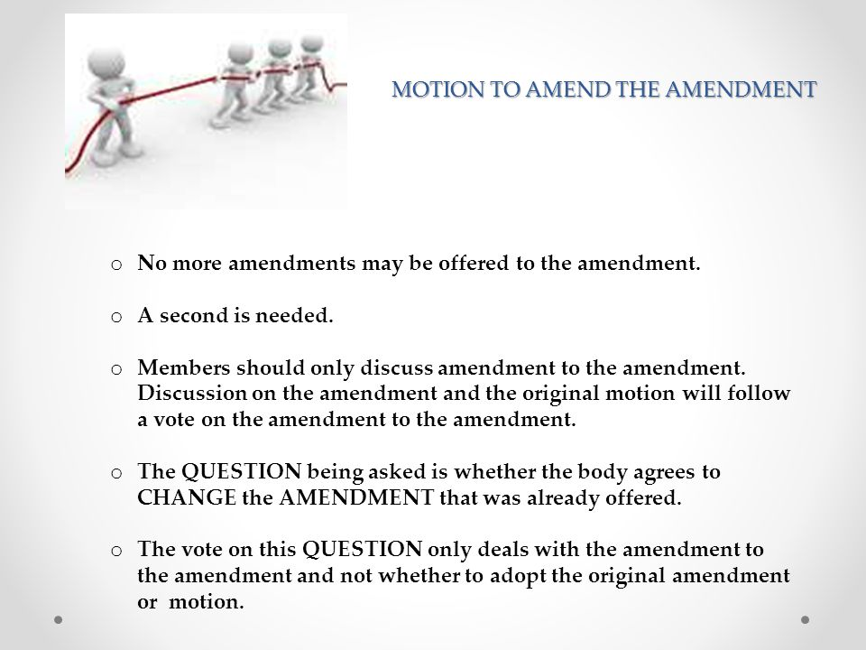 Amending the Amendment PRIMARY QUESTION