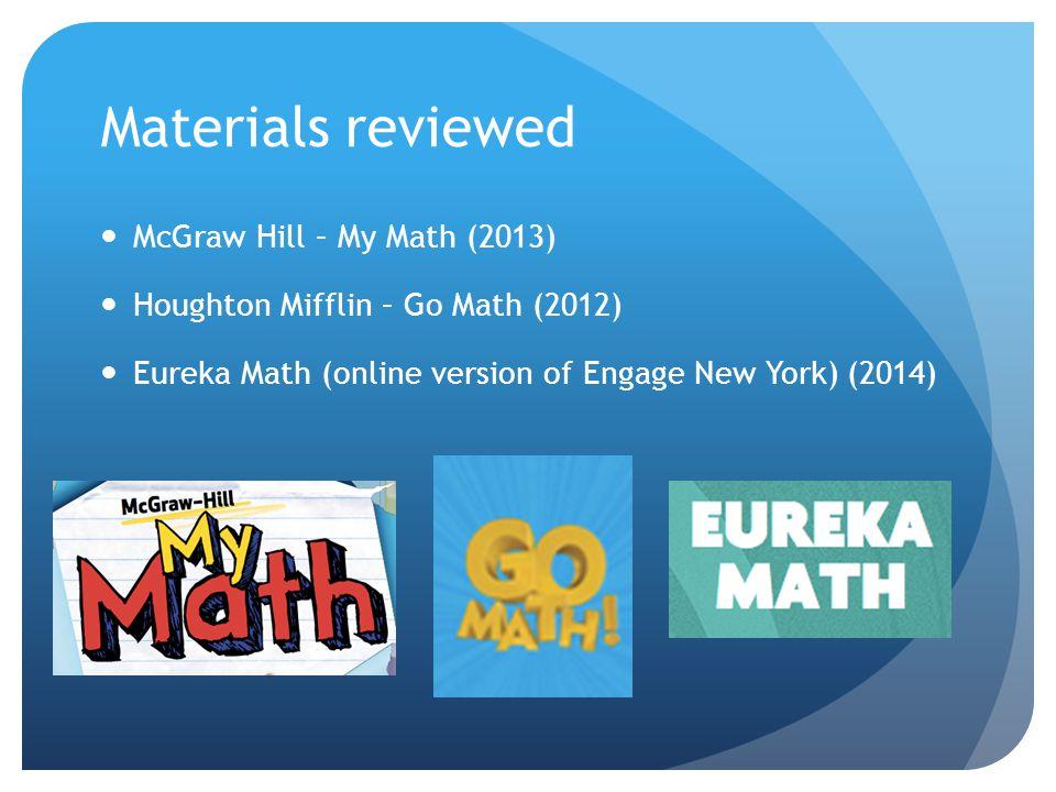Materials reviewed McGraw Hill – My Math (2013) Houghton Mifflin – Go Math (2012) Eureka Math (online version of Engage New York) (2014)