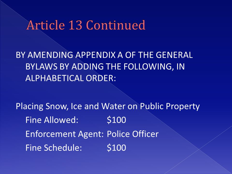 BY AMENDING APPENDIX A OF THE GENERAL BYLAWS BY ADDING THE FOLLOWING, IN ALPHABETICAL ORDER: Placing Snow, Ice and Water on Public Property Fine Allow