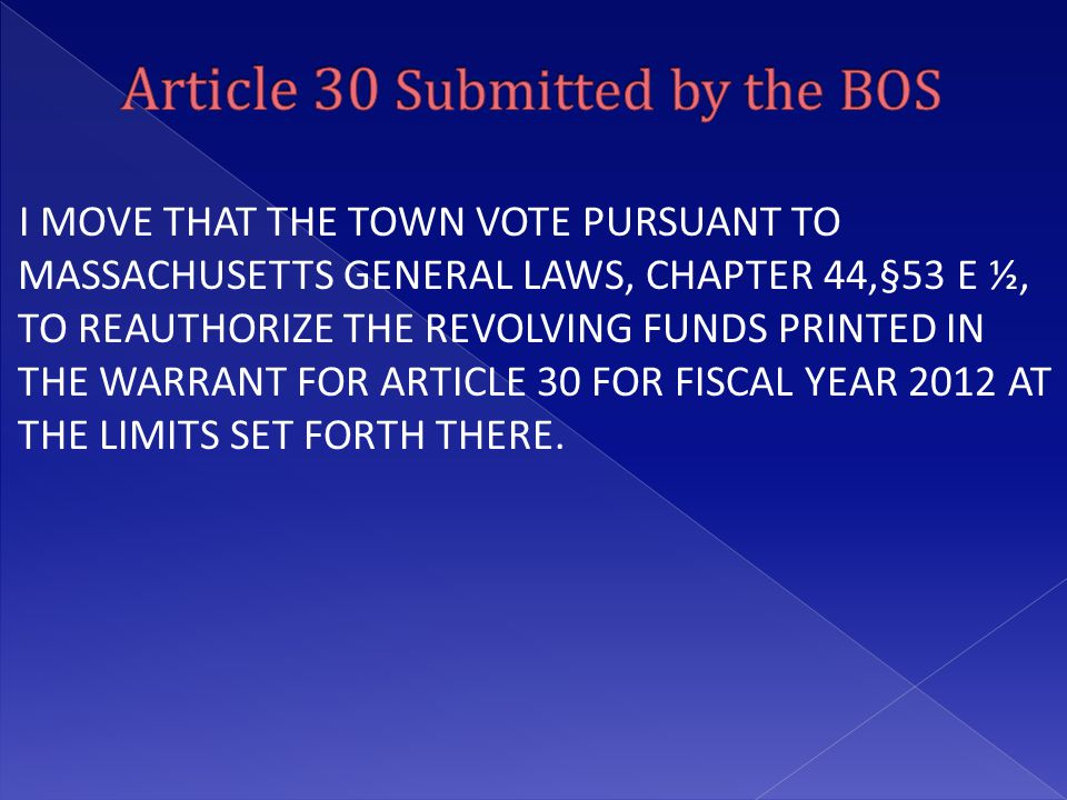 I MOVE THAT THE TOWN VOTE PURSUANT TO MASSACHUSETTS GENERAL LAWS, CHAPTER 44,§53 E ½, TO REAUTHORIZE THE REVOLVING FUNDS PRINTED IN THE WARRANT FOR AR
