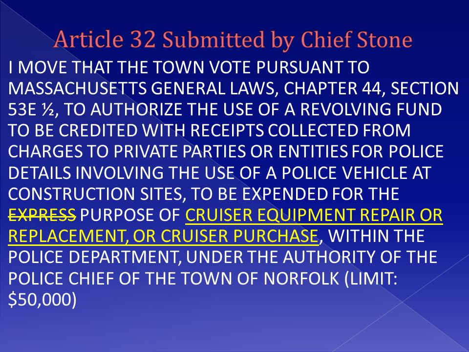 I MOVE THAT THE TOWN VOTE PURSUANT TO MASSACHUSETTS GENERAL LAWS, CHAPTER 44, SECTION 53E ½, TO AUTHORIZE THE USE OF A REVOLVING FUND TO BE CREDITED W