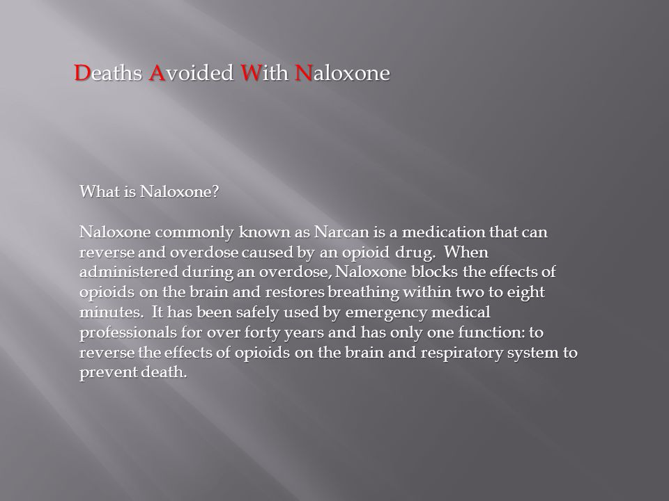 Deaths Avoided With Naloxone What is Naloxone.
