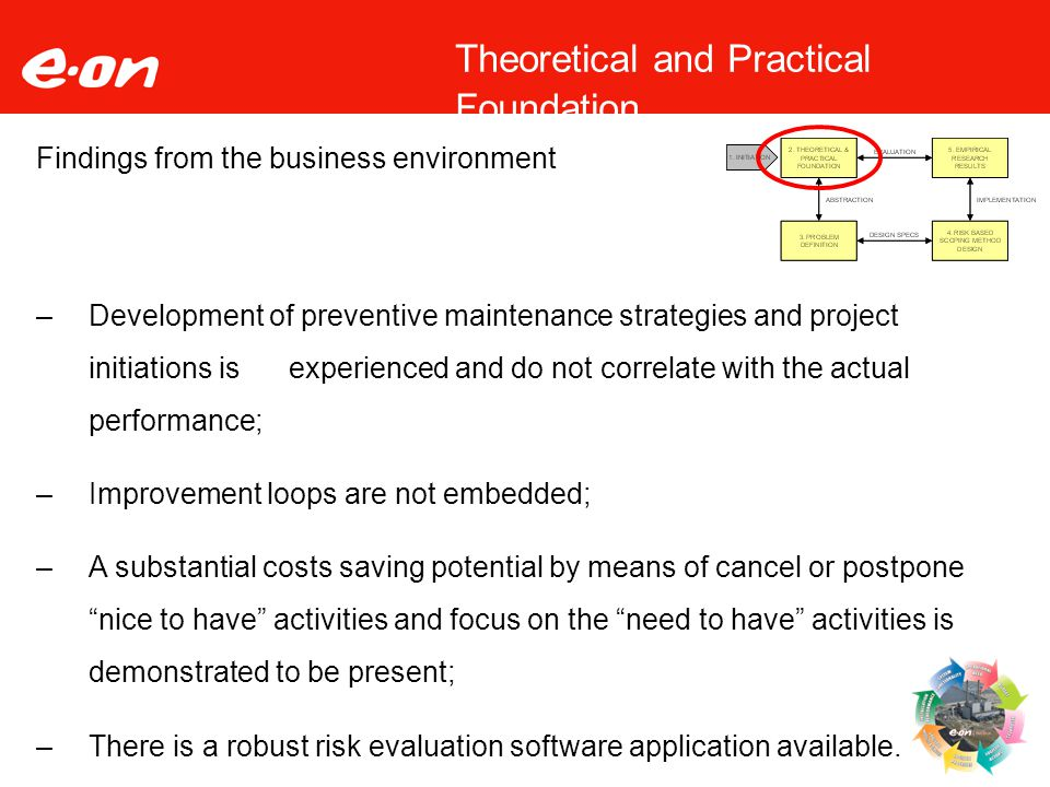 9 Theoretical and Practical Foundation Findings from the business environment –Development of preventive maintenance strategies and project initiations is experienced and do not correlate with the actual performance; –Improvement loops are not embedded; –A substantial costs saving potential by means of cancel or postpone nice to have activities and focus on the need to have activities is demonstrated to be present; –There is a robust risk evaluation software application available.