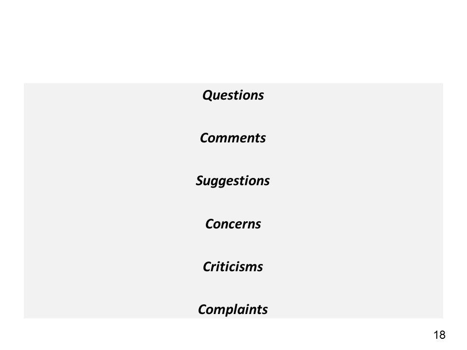 18 Questions Comments Suggestions Concerns Criticisms Complaints