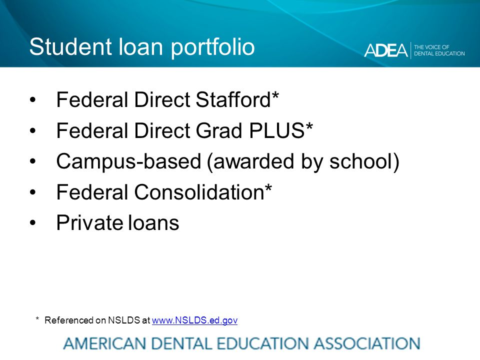 Student loan portfolio Federal Direct Stafford* Federal Direct Grad PLUS* Campus-based (awarded by school) Federal Consolidation* Private loans * Referenced on NSLDS at www.NSLDS.ed.govwww.NSLDS.ed.gov