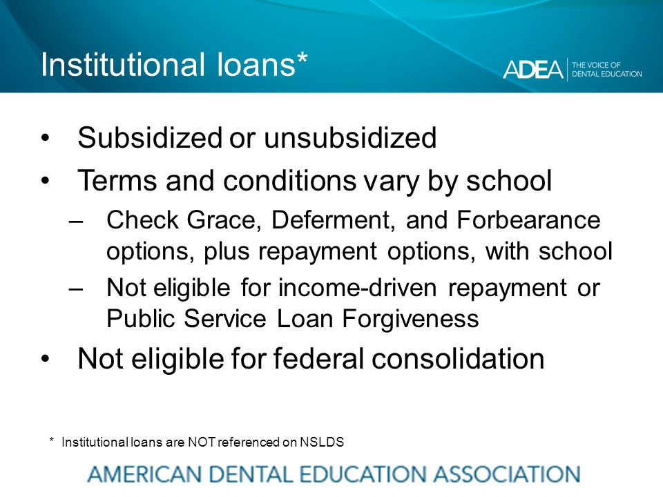 Institutional loans* Subsidized or unsubsidized Terms and conditions vary by school –Check Grace, Deferment, and Forbearance options, plus repayment options, with school –Not eligible for income-driven repayment or Public Service Loan Forgiveness Not eligible for federal consolidation * Institutional loans are NOT referenced on NSLDS