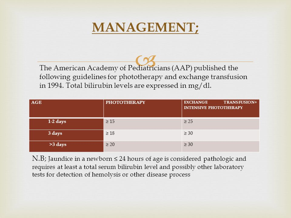  MANAGEMENT; The American Academy of Pediatricians (AAP) published the following guidelines for phototherapy and exchange transfusion in 1994.