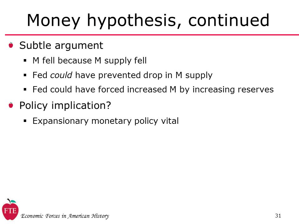 Economic Forces in American History 31 Money hypothesis, continued Subtle argument  M fell because M supply fell  Fed could have prevented drop in M supply  Fed could have forced increased M by increasing reserves Policy implication.