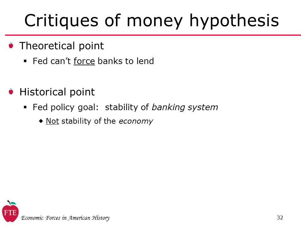 Economic Forces in American History 32 Critiques of money hypothesis Theoretical point  Fed can't force banks to lend Historical point  Fed policy goal: stability of banking system  Not stability of the economy