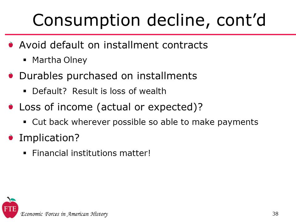 Economic Forces in American History 38 Consumption decline, cont'd Avoid default on installment contracts  Martha Olney Durables purchased on installments  Default.