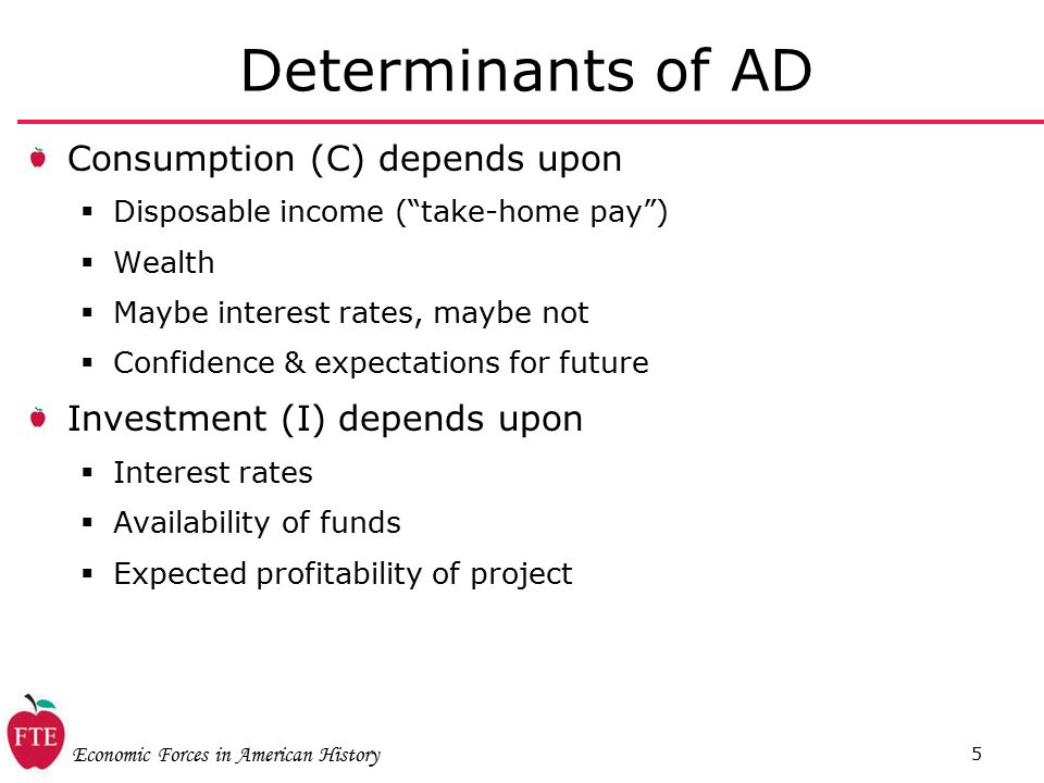 Economic Forces in American History 5 Determinants of AD Consumption (C) depends upon  Disposable income ( take-home pay )  Wealth  Maybe interest rates, maybe not  Confidence & expectations for future Investment (I) depends upon  Interest rates  Availability of funds  Expected profitability of project