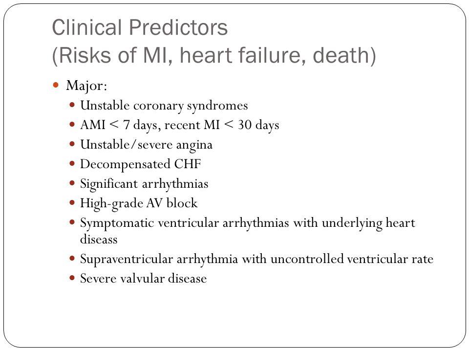 Clinical Predictors (Risks of MI, heart failure, death) Major: Unstable coronary syndromes AMI < 7 days, recent MI < 30 days Unstable/severe angina Decompensated CHF Significant arrhythmias High-grade AV block Symptomatic ventricular arrhythmias with underlying heart diseass Supraventricular arrhythmia with uncontrolled ventricular rate Severe valvular disease