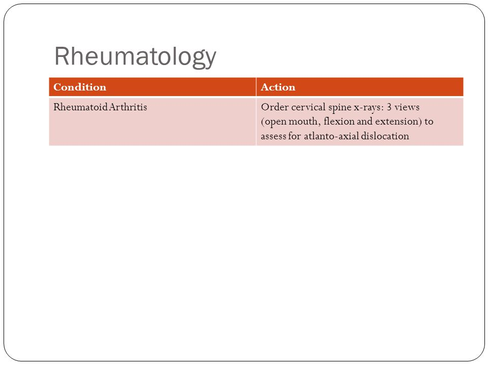 Rheumatology ConditionAction Rheumatoid ArthritisOrder cervical spine x-rays: 3 views (open mouth, flexion and extension) to assess for atlanto-axial dislocation