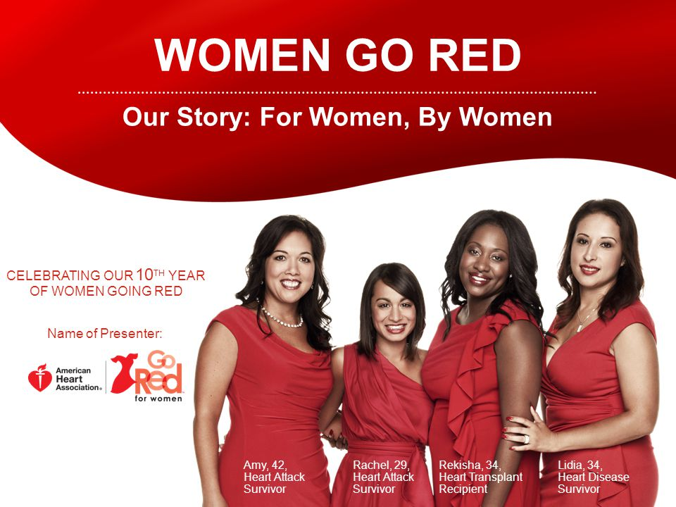 WOMEN GO RED Our Story: For Women, By Women Amy, 42, Heart Attack Survivor Rachel, 29, Heart Attack Survivor Rekisha, 34, Heart Transplant Recipient Lidia, 34, Heart Disease Survivor CELEBRATING OUR 10 TH YEAR OF WOMEN GOING RED Name of Presenter: