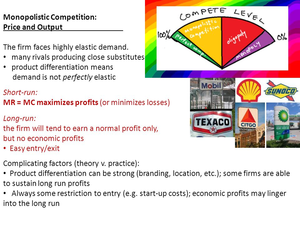 Monopolistic Competition and Economic Efficiency Review: Allocative efficiency: P = MC (at MC = D) price = marginal cost - the right amount of resources are allocated to the product Productive efficiency: P = min.
