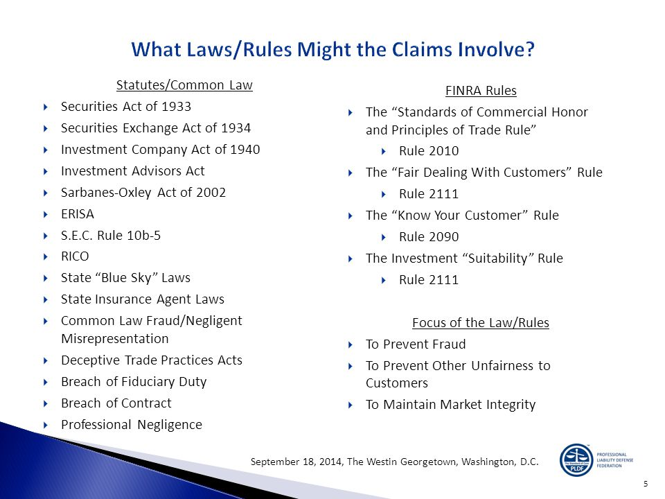 Statutes/Common Law  Securities Act of 1933  Securities Exchange Act of 1934  Investment Company Act of 1940  Investment Advisors Act  Sarbanes-Oxley Act of 2002  ERISA  S.E.C.