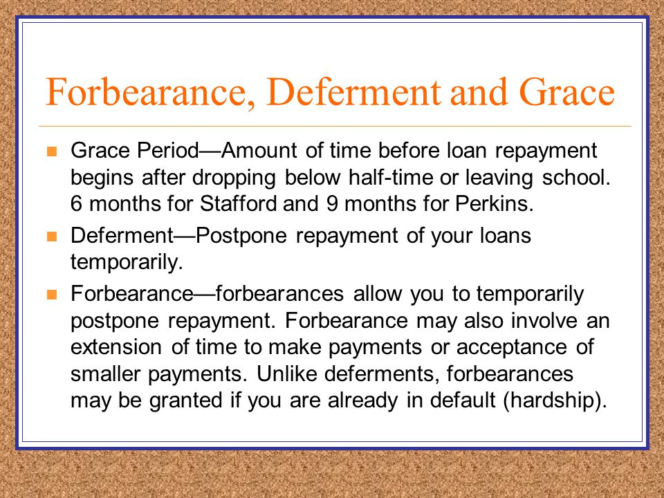 Forbearance, Deferment and Grace Grace Period—Amount of time before loan repayment begins after dropping below half-time or leaving school.