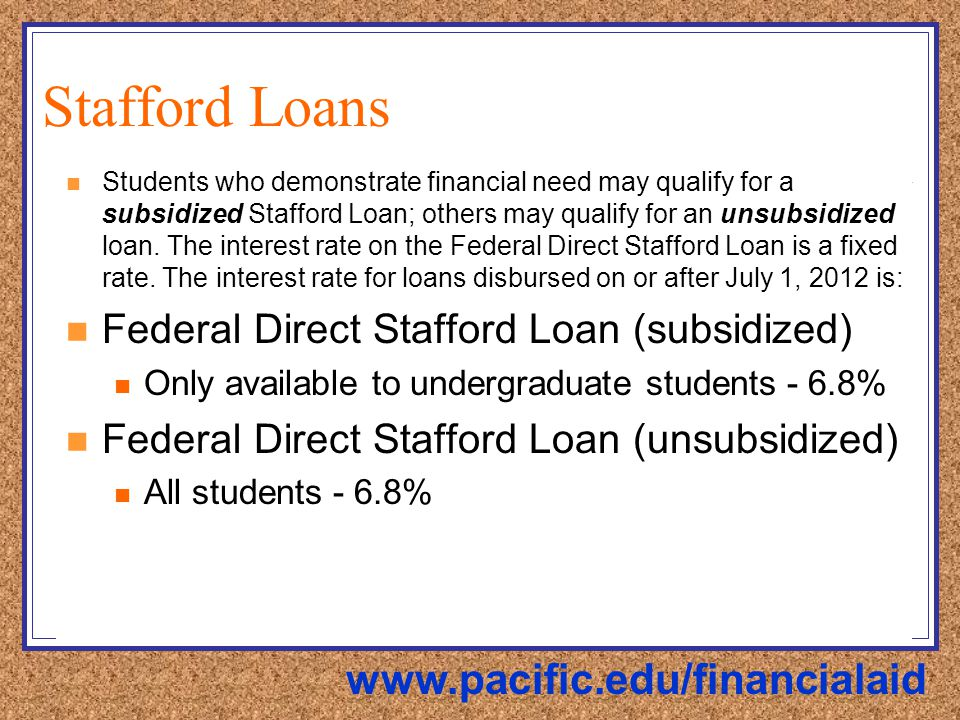 Stafford Loans Students who demonstrate financial need may qualify for a subsidized Stafford Loan; others may qualify for an unsubsidized loan.