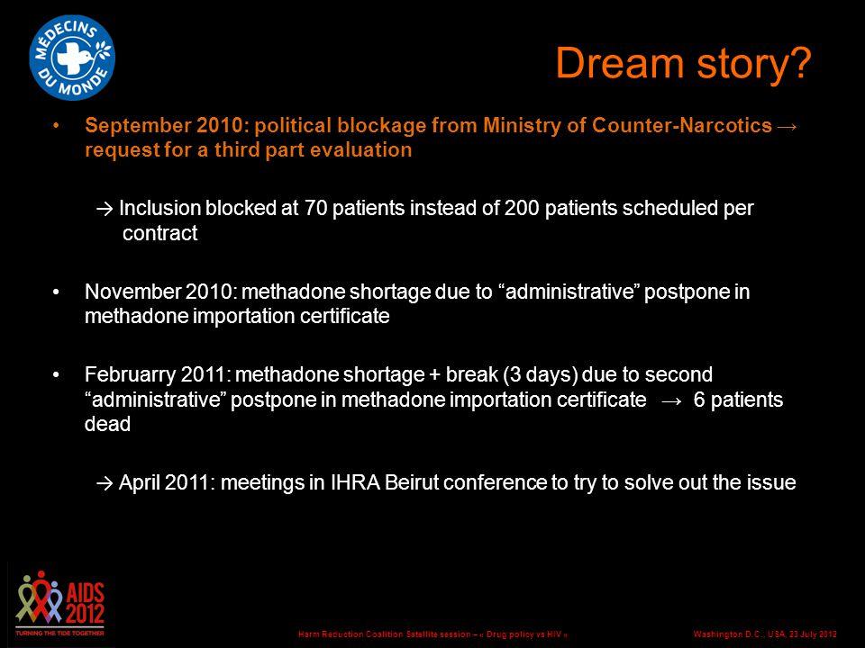 Washington D.C., USA, 23 July 2012Harm Reduction Coalition Satellite session – « Drug policy vs HIV » Dream story? September 2010: political blockage