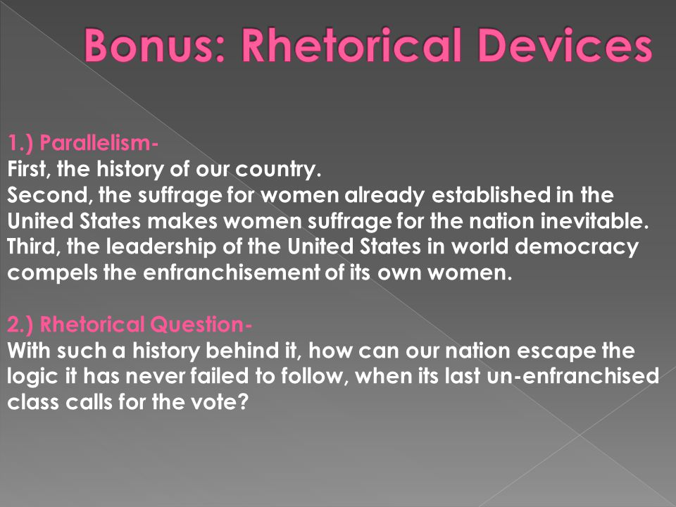 1.) Parallelism- First, the history of our country.