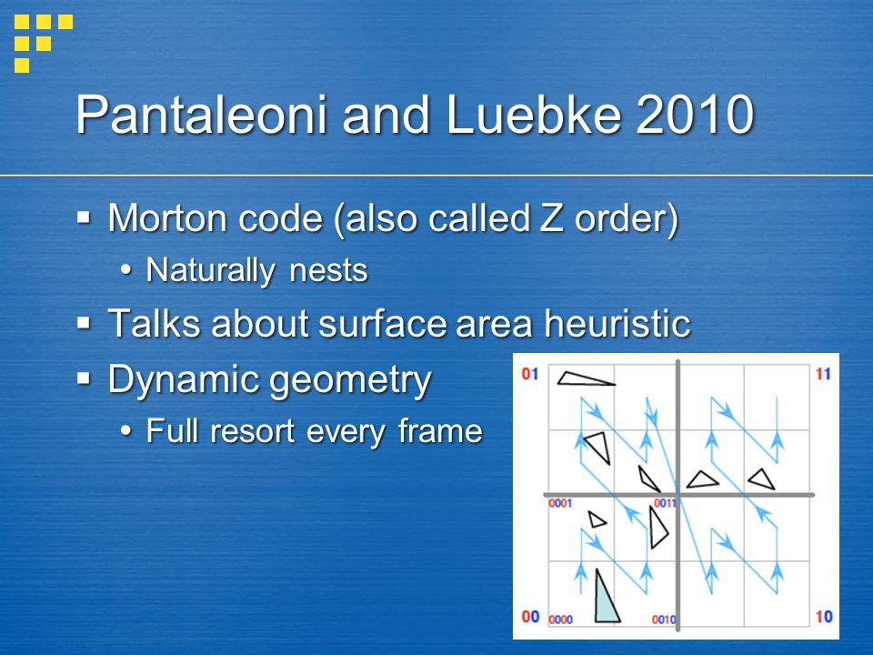 Pantaleoni and Luebke 2010  Morton code (also called Z order)  Naturally nests  Talks about surface area heuristic  Dynamic geometry  Full resort every frame
